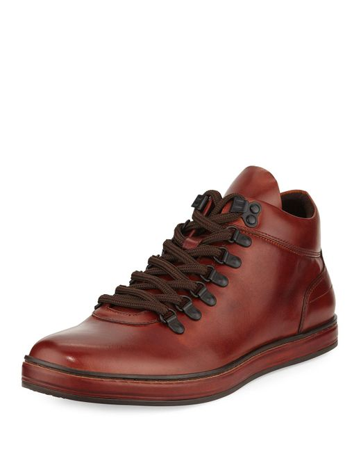 Kenneth Cole | Brown Best Brand Leather Sneaker Boot With Silver Technology for Men | Lyst
