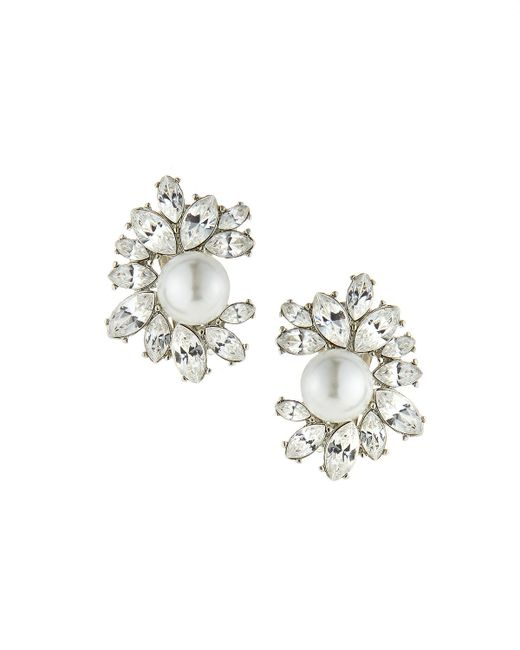 Kenneth Jay Lane | White Rhinestone Cluster Clip-on Earrings W/ Faux-pearl Beads | Lyst