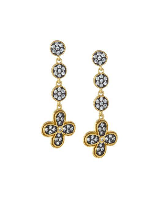 Freida Rothman   Metallic Pave Medallion Clover Dangle Earrings   Lyst