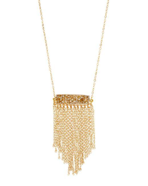 Panacea | Metallic Long Druzy Fringe Necklace | Lyst