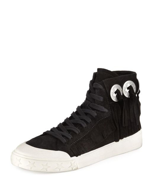 Ash | Black Marlow Fringe Suede High-top Sneaker | Lyst