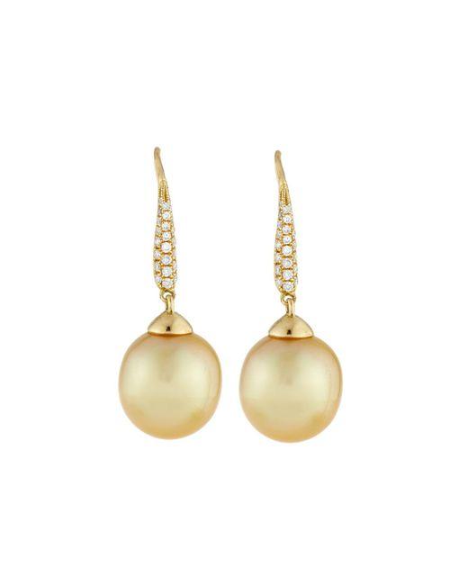 Belpearl | Metallic 18k Golden South Sea Pearl & Pave Diamond Drop Earrings | Lyst