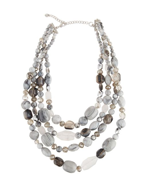 Lydell NYC | Metallic Multi-row Glass Beaded Necklace | Lyst