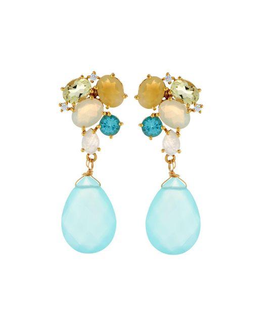Indulgems | Multicolor Mixed-gemstone Cluster Drop Earrings | Lyst