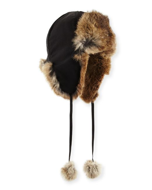 Adrienne Landau | Brown Rabbit Fur Trapper Hat | Lyst