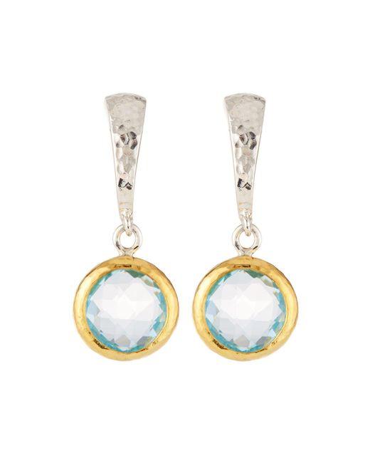 Gurhan - Small Wide Hoop Earrings W/ Blue Topaz Drop - Lyst