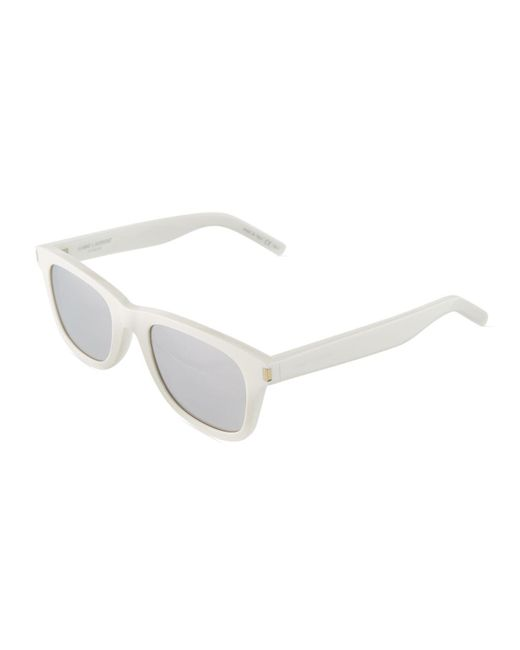 4ff99129ab Lyst - Saint Laurent Square Acetate Sunglasses in White