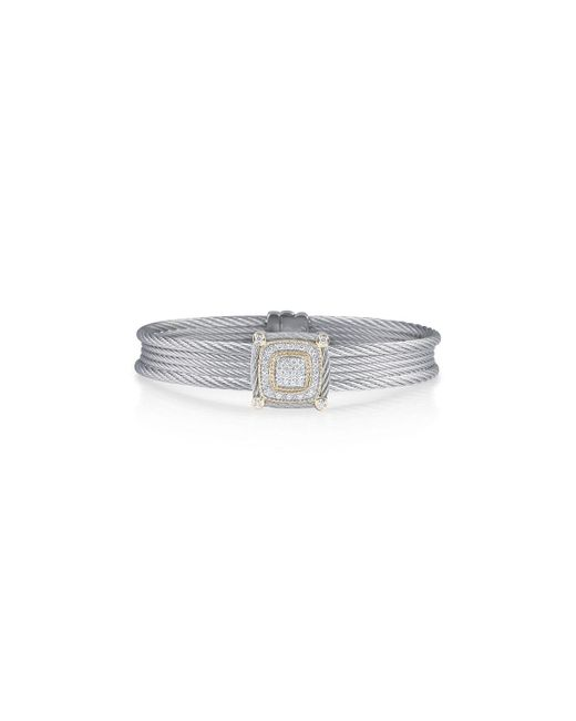Alor | Gray Classique Five-row Micro-cable Bracelet W/ Square Diamond Station | Lyst