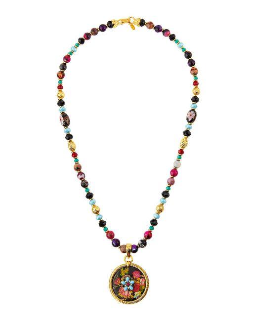 Jose & Maria Barrera | Metallic Long Beaded Fire Agate Necklace W/ Floral Pendant | Lyst