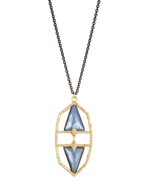 Armenta   Metallic Old World Geometric Triplet & Diamond Pendant Necklace   Lyst