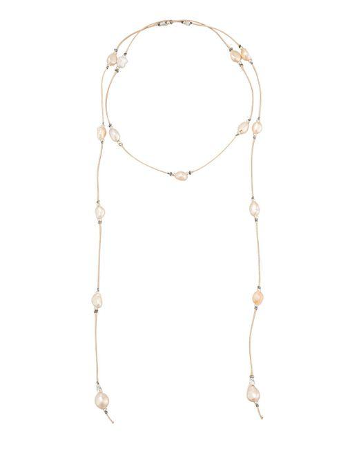 Nakamol | Orange Baroque Pearl Suede Lariat Choker Necklace | Lyst