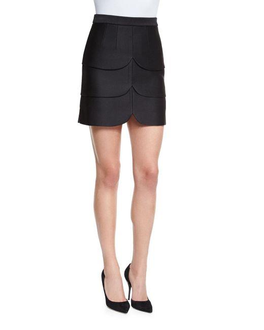 Co.   Black Scalloped Satin Mini Skirt   Lyst