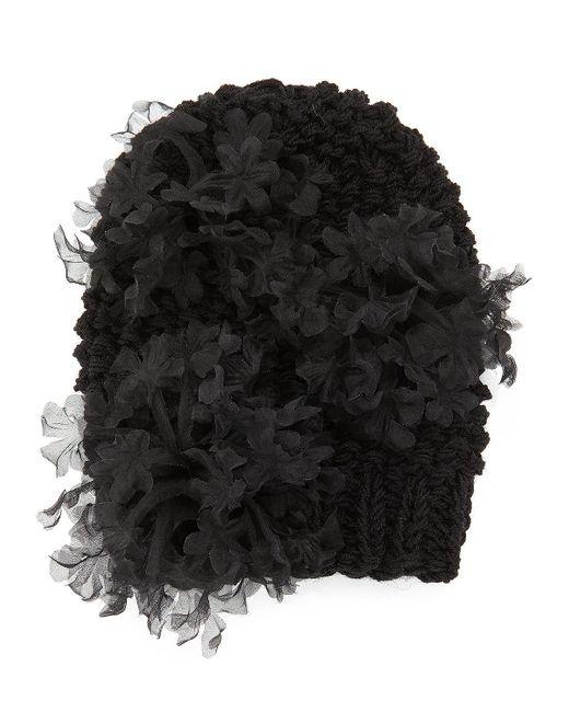 Gigi Burris Millinery | Black Bloom Knit Beanie Hat With Organza Flowers | Lyst