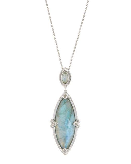 Jude Frances - Metallic Large Marquise Pendant Necklace Labradorite/rose Quartz - Lyst