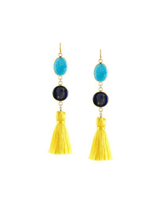 Panacea | Multicolor Linear Tasseled Druzy Dangle Earrings | Lyst