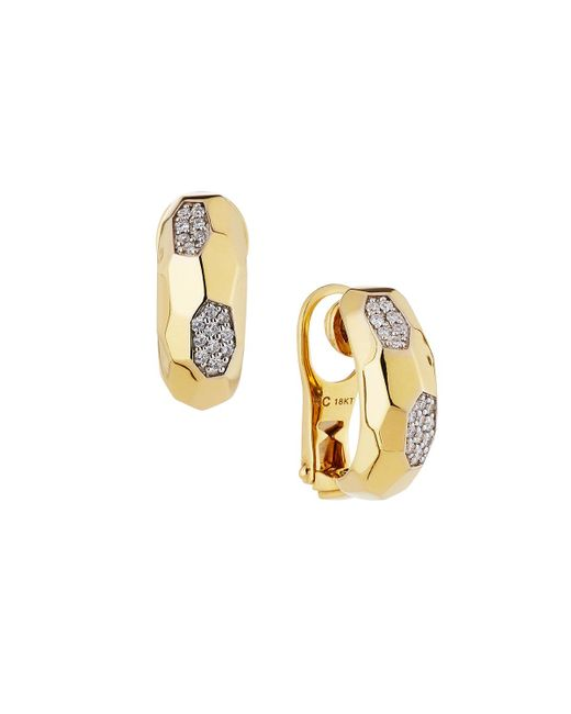 Roberto Coin | Metallic Martellato 18k Diamond Half-hoop Earrings | Lyst