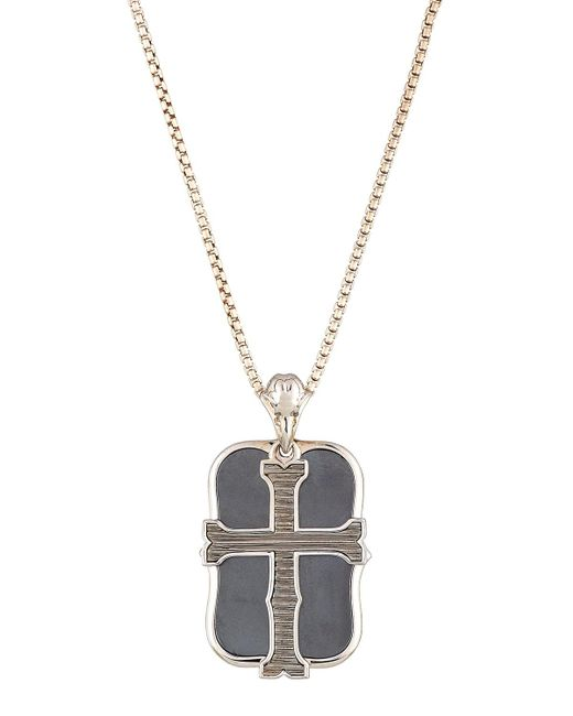 Stephen Webster | Metallic Men's London Calling Hematite Cross Double Dog Tag Necklace for Men | Lyst
