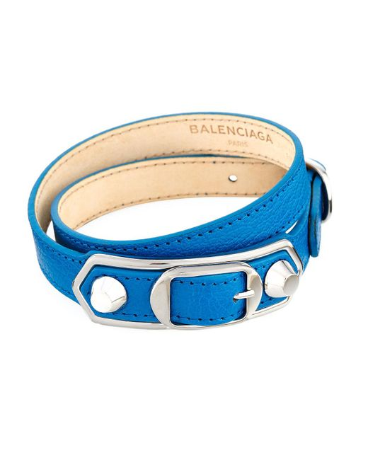 Balenciaga | Blue Metallic Edge Leather Wrap Bracelet | Lyst