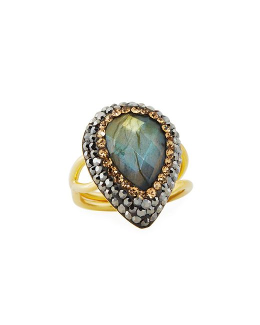Native Gem Jewelry | Gray Ilume Labradorite & Crystal Adjustable Cocktail Ring | Lyst