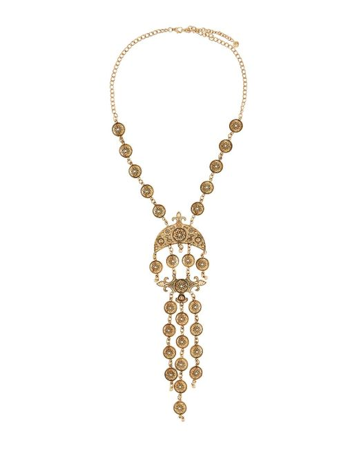 Lydell NYC | Metallic Ornate Statement Drop Necklace | Lyst