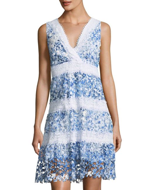 T Tahari   Blue Raya Striped Lace A-line Dress   Lyst