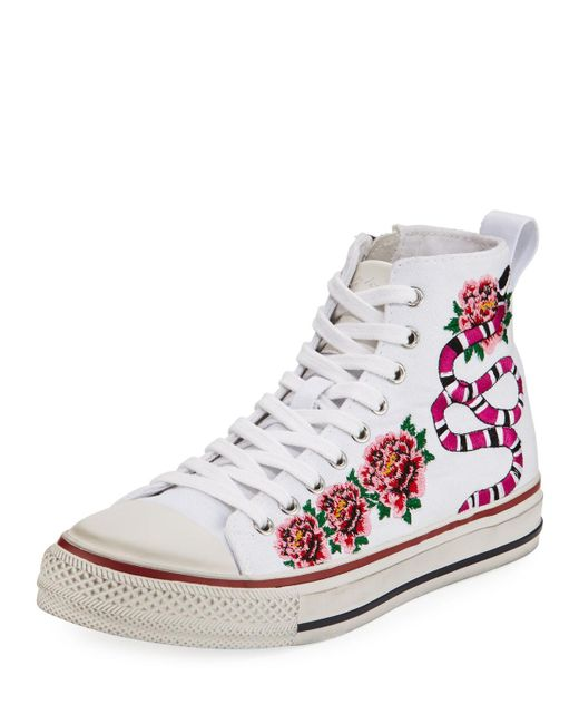 ash vanina embroidered high top sneaker in white lyst. Black Bedroom Furniture Sets. Home Design Ideas