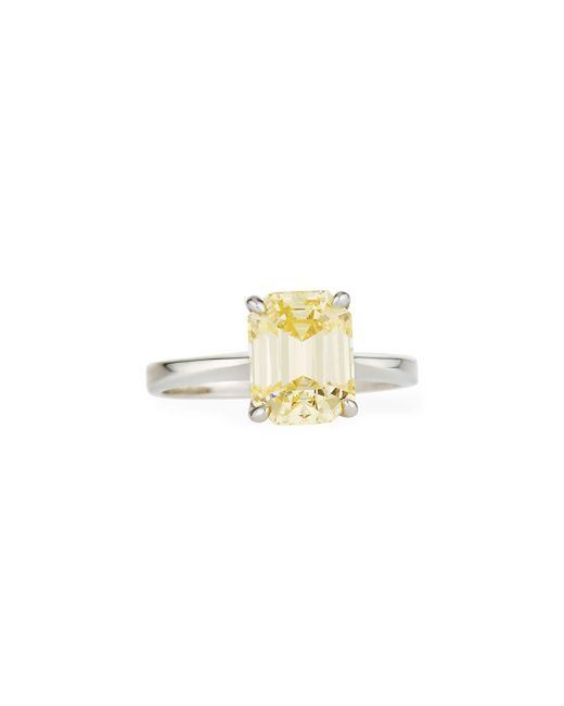 Fantasia by Deserio | Green Emerald-cut Canary Solitaire Ring | Lyst