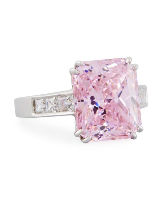 Fantasia by Deserio | Emerald-cut Pink Cz Crystal Ring | Lyst