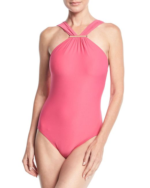 MICHAEL Michael Kors | Pink High-neck One-piece Swimsuit | Lyst
