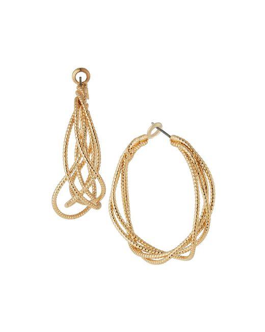 Kenneth Jay Lane   Metallic Satin Textured Hoop Earrings   Lyst