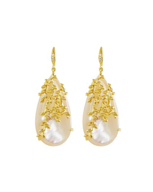 Indulgems | White Willow Simulated Mother-of-pearl Dangle Earrings | Lyst