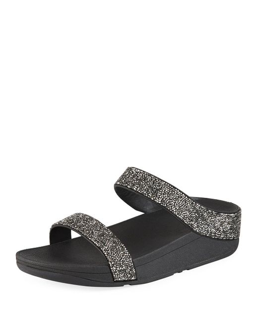2ded48bbbd48a4 Fitflop - Metallic Fino Quartz Embellished Slide Sandals - Lyst ...