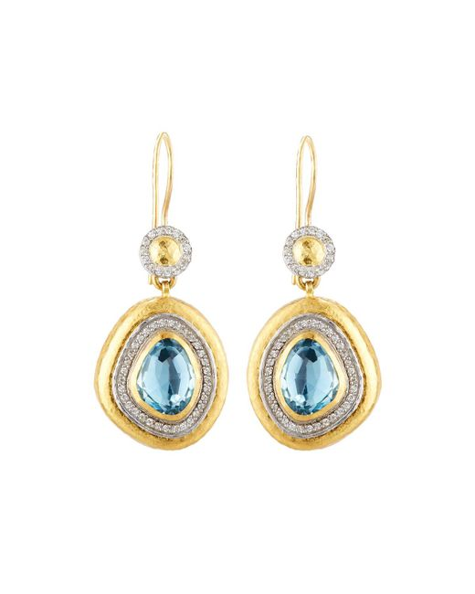 Gurhan | Elements Ice 24k Blue Topaz & Diamond Drop Earrings | Lyst