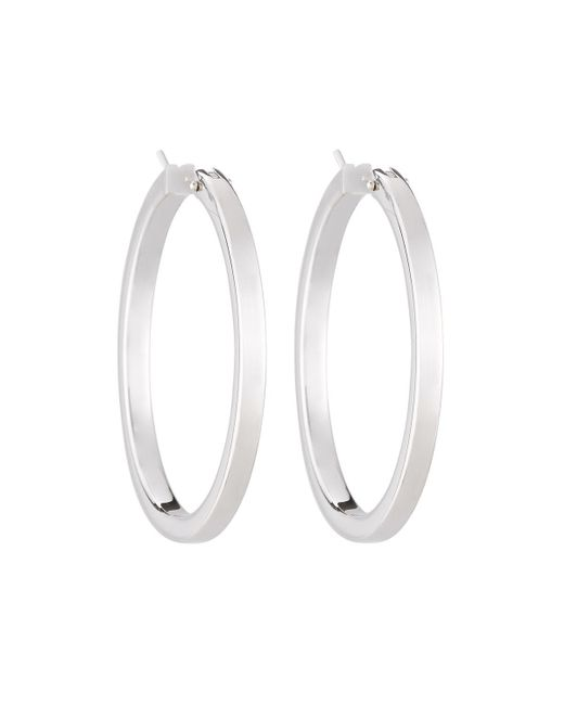 Roberto Coin | 18k White Gold Classic Hoop Earrings | Lyst
