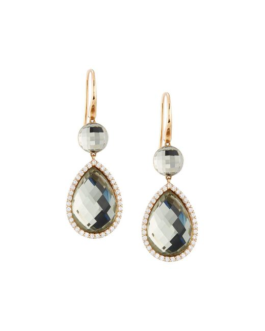 Roberto Coin | Metallic 18k Rose Gold Diamond & Amethyst Doublet Drop Earrings | Lyst