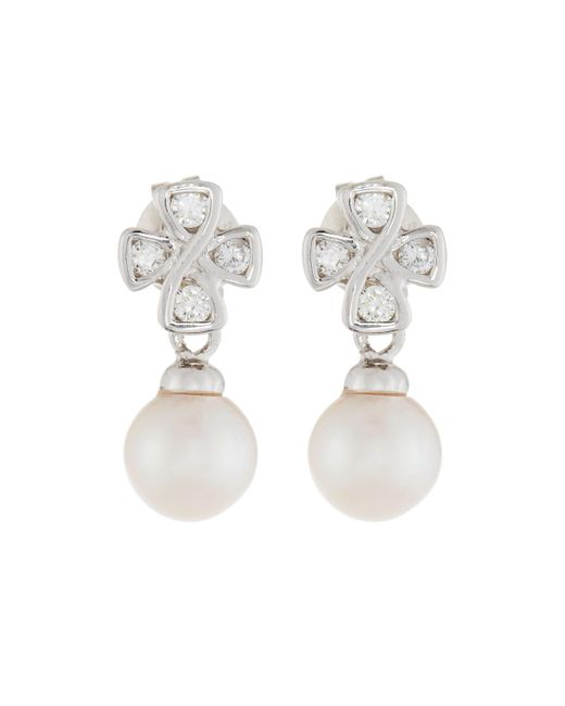 Belpearl | Multicolor 14k Pearl & Diamond Cross Drop Earrings | Lyst
