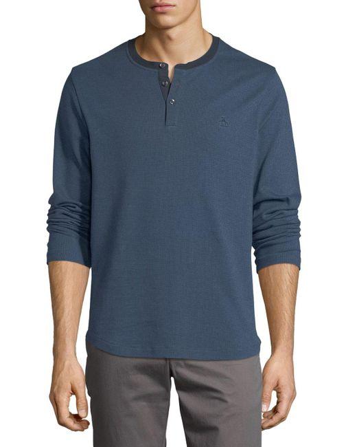 Original Penguin | Blue Herringbone Long-sleeve Shirt for Men | Lyst