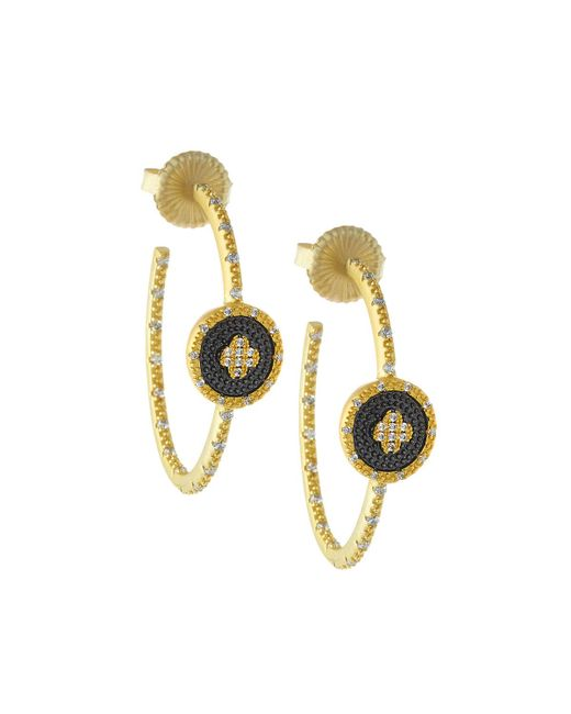 Freida Rothman | Metallic Pave Medallion Clover Hoop Earrings | Lyst
