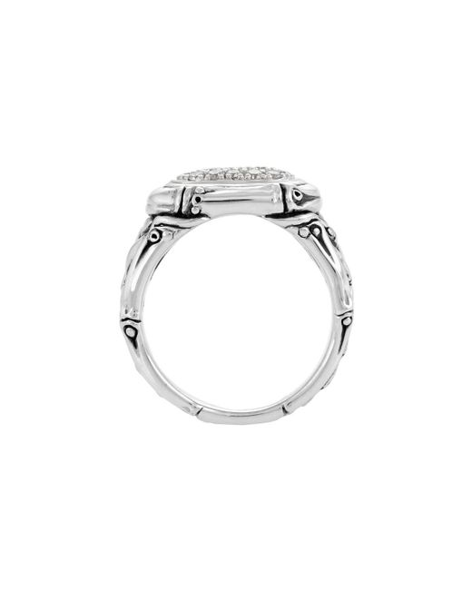 John Hardy - Metallic Bamboo Diamond Oval Pave Ring - Lyst