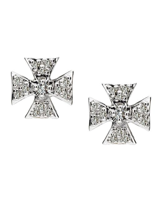 Elizabeth Showers | Metallic Sapphire Pave Mini Maltese Stud Earrings | Lyst