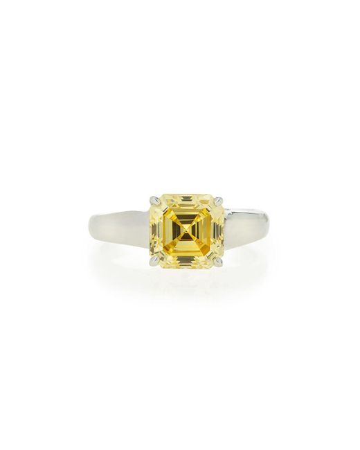 Fantasia by Deserio | Multicolor Square-cut Canary Cz Solitaire Ring | Lyst