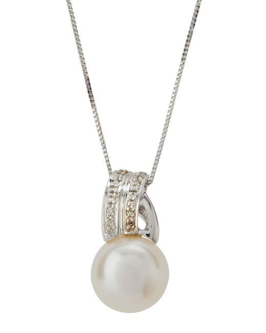 Belpearl - 14k White Gold Asymmetric Bale & Pearl Pendant Necklace - Lyst