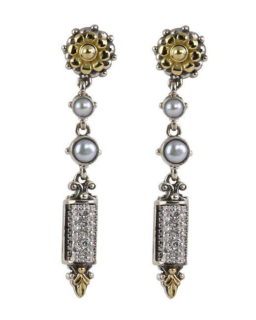 Konstantino - Metallic Asteri Etched Freshwater Pearl & Diamond Dangle Earrings - Lyst