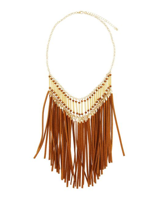 Panacea | Brown Suede Fringe Statement Necklace | Lyst