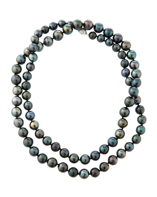 Belpearl - Multicolor 14k Oblong Tahitian Pearl Necklace - Lyst