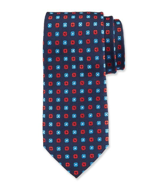 Duchamp - Blue Small Square Pattern Silk Tie for Men - Lyst