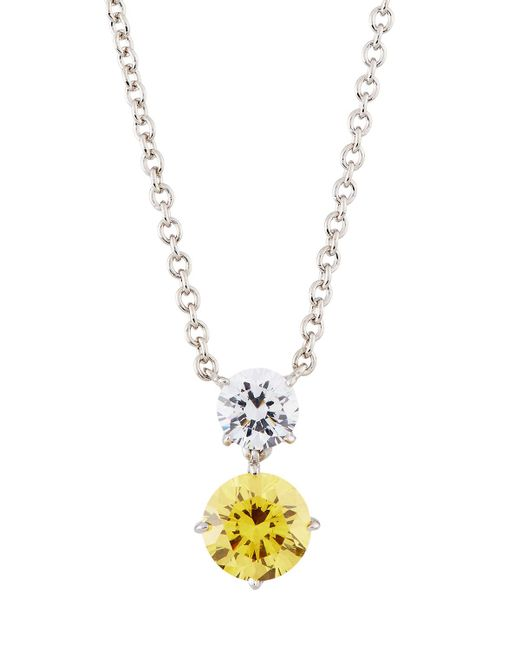 Fantasia by Deserio - Yellow Round Double-drop Cz Crystal Pendant Necklace - Lyst