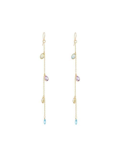 Devon Leigh | Metallic Long Crystal Chain Dangle Earrings | Lyst