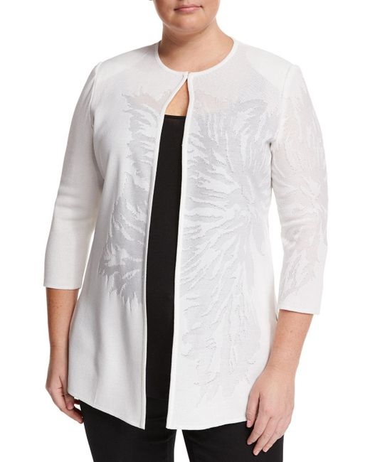 Ming Wang   White Tonal Floral-print Knit Jacket   Lyst
