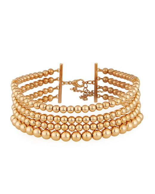 Lydell NYC | Metallic Multi-row Golden Ball Choker Necklace | Lyst